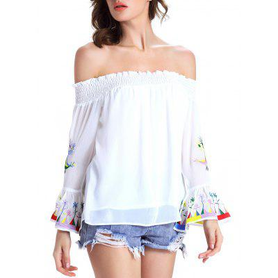 Chic Women's Ethnic Print Off The Shoulder Blouse