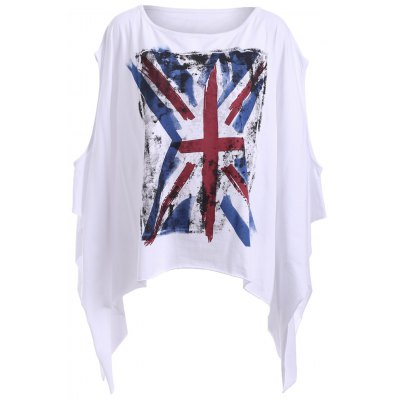 Chic Round Neck Cut Out Flag Print Asymmetrical Women's T-Shirt