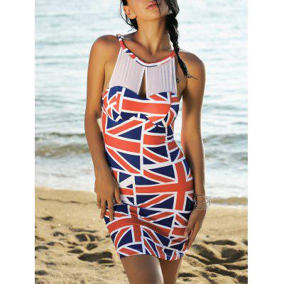 Mesh Panel Union Flag Bodycon Patriotic Dress