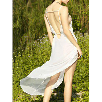 Trendy Deep V Neck Low Back Women's Furcal Chiffon Dress