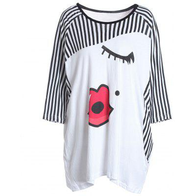 Stylish Lips printing Stripe Blocking Color Women's T-Shirt