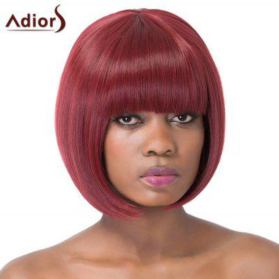 Buy WINE RED Sweet Bob Style Short Straight Wine Red Full Bang Synthetic Adiors Wig For Women for $22.02 in GearBest store