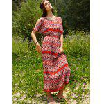 Bohemian Split Sleeve Printed Women's Long Dress for sale