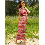 Bohemian Split Sleeve Printed Women's Long Dress photo