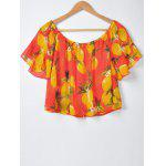Sweet Slimming Boat Neck Fruit Printing Blouse For Women - RED