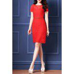 Belted Guipure Lace Bodycon Dress - RED