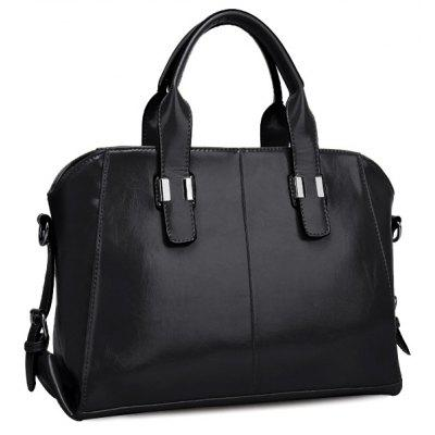 Stylish Buckles and PU Leather Design Tote Bag For Women