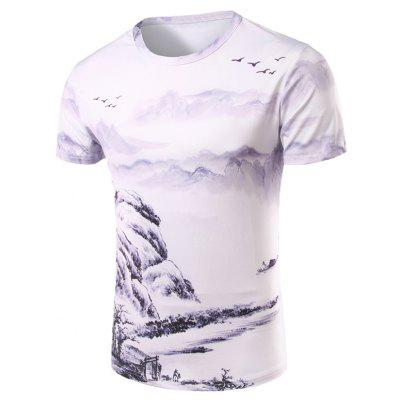 3D Ethnic Style Printed Round Neck Short Sleeve T-Shirt For Men