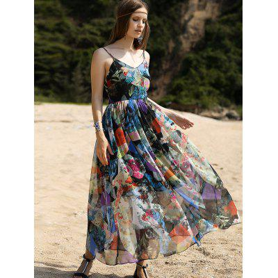 Fashion Cami High Waisted Backless Print Maxi Dress For Women