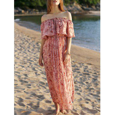 Trendy Slash Neck Frilly Pink Chiffon Dress For Women