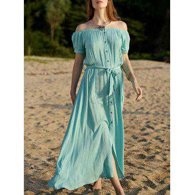 Casual Button Front Closure Women's Turquoise Dress
