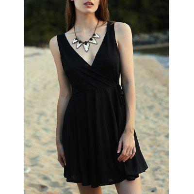 Trendy V-Neck Sleeveless Crossed Solid Color Dress For Women