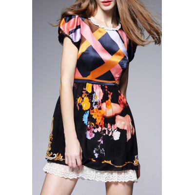 Hit Color Patterned Silk Dress