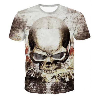 Buy COLORMIX 3D Personality Round Neck Skulls Printed Short Sleeve T-Shirt For Men for $14.80 in GearBest store