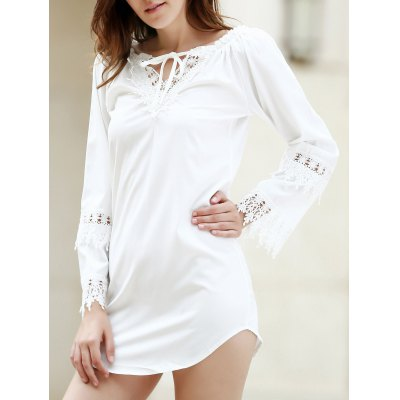 Buy WHITE Crochet Panel Long Sleeve Casual Tunic Dress for $24.52 in GearBest store