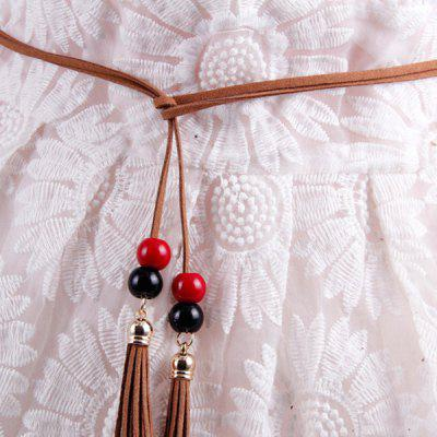 Chic Tassels Bead Knotted Bohemian Slender Waist Rope For Women