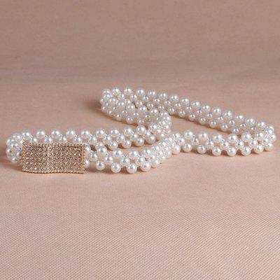 Chic Rhinestone Cambered Rectangle Buckle Faux Pearl Stretch Waist Belt For Women