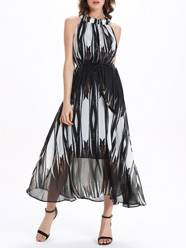 Chiffon Stand Collar sans manches Flowing Prom Maxi Dress