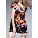 Hit Color Printed Silk Dress