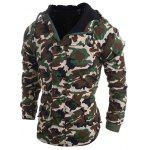 Buy Modish Loose Fit Hooded Multi-Pocket Camo Pattern Long Sleeve Thicken Cotton Blend Coat Men M ARMY GREEN