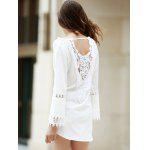 Crochet Panel Long Sleeve Casual Tunic Dress - WHITE