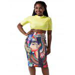 cheap Round Neck Crop Top and Graphic Bodycon Skirt