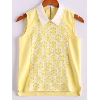 Sweet Flat Collar Color Block Floral Print Sleeveless Yellow Women's Tank Top