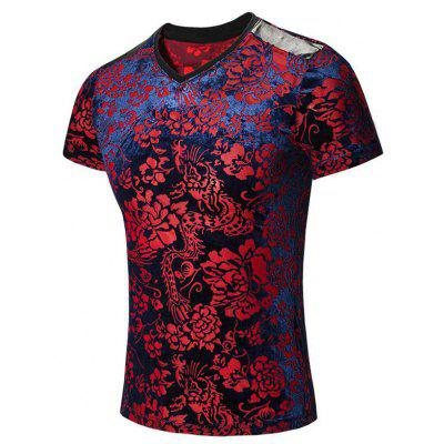 Tribal Print PU Leather Spliced V-Neck Short Sleeves T-Shirt For Men
