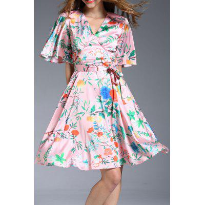 V-Neck Flutter Sleeve Printed Dress