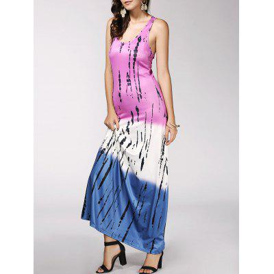 Buy COLORMIX Color Block Print Maxi Racerback Tank Dress for $19.01 in GearBest store