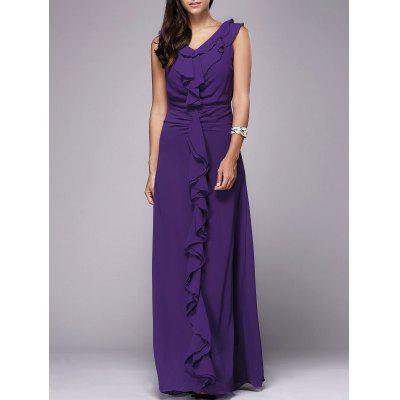 OL Style V Neck Sleeveless Flounced Pure Color Women's Maxi Dress
