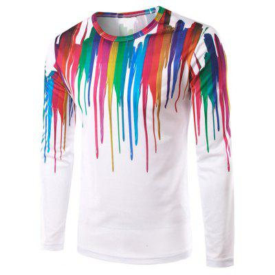 Splash-Ink Print Long Sleeves T-Shirt