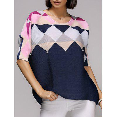 Stylish Bat Sleeve Scoop Neck Rhombus Print Women's T-Shirt