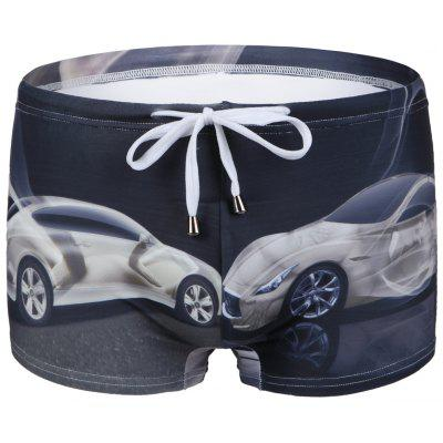 Car Printed Lace Up Swimwear For Men