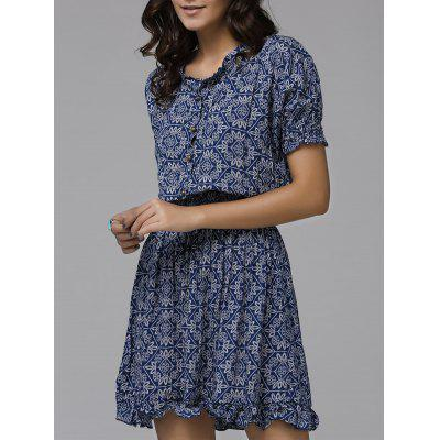 Print Front Button Frilled Dress