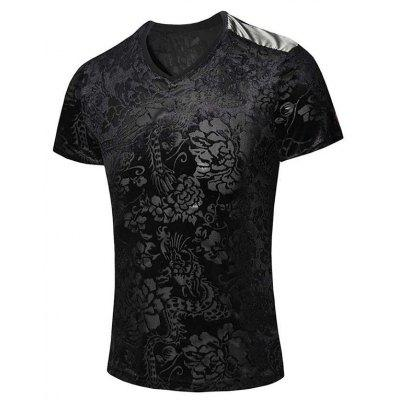 New Style V-Neck Floral Print PU Leather Spliced Short Sleeves T-Shirt For Men