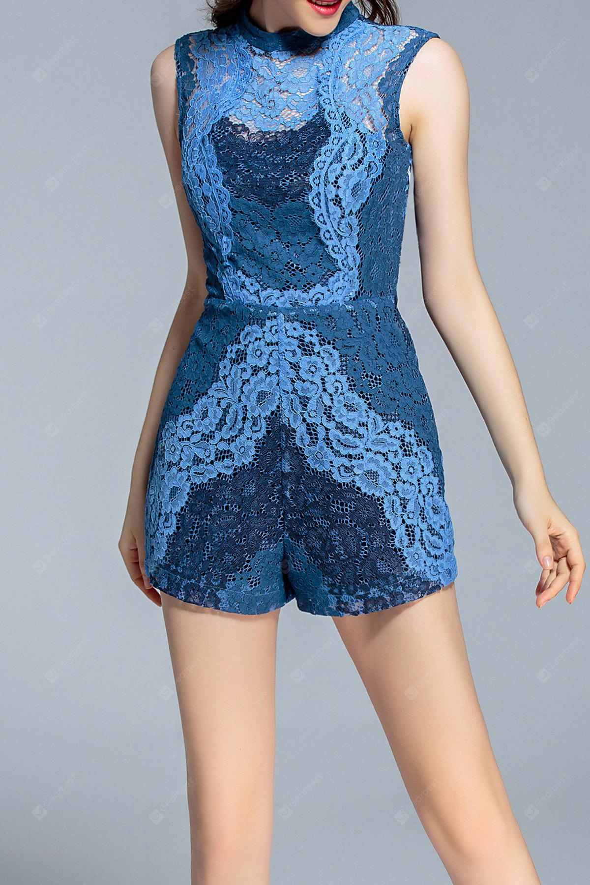 Sleeveless Open Back Lace Romper XL BLUE
