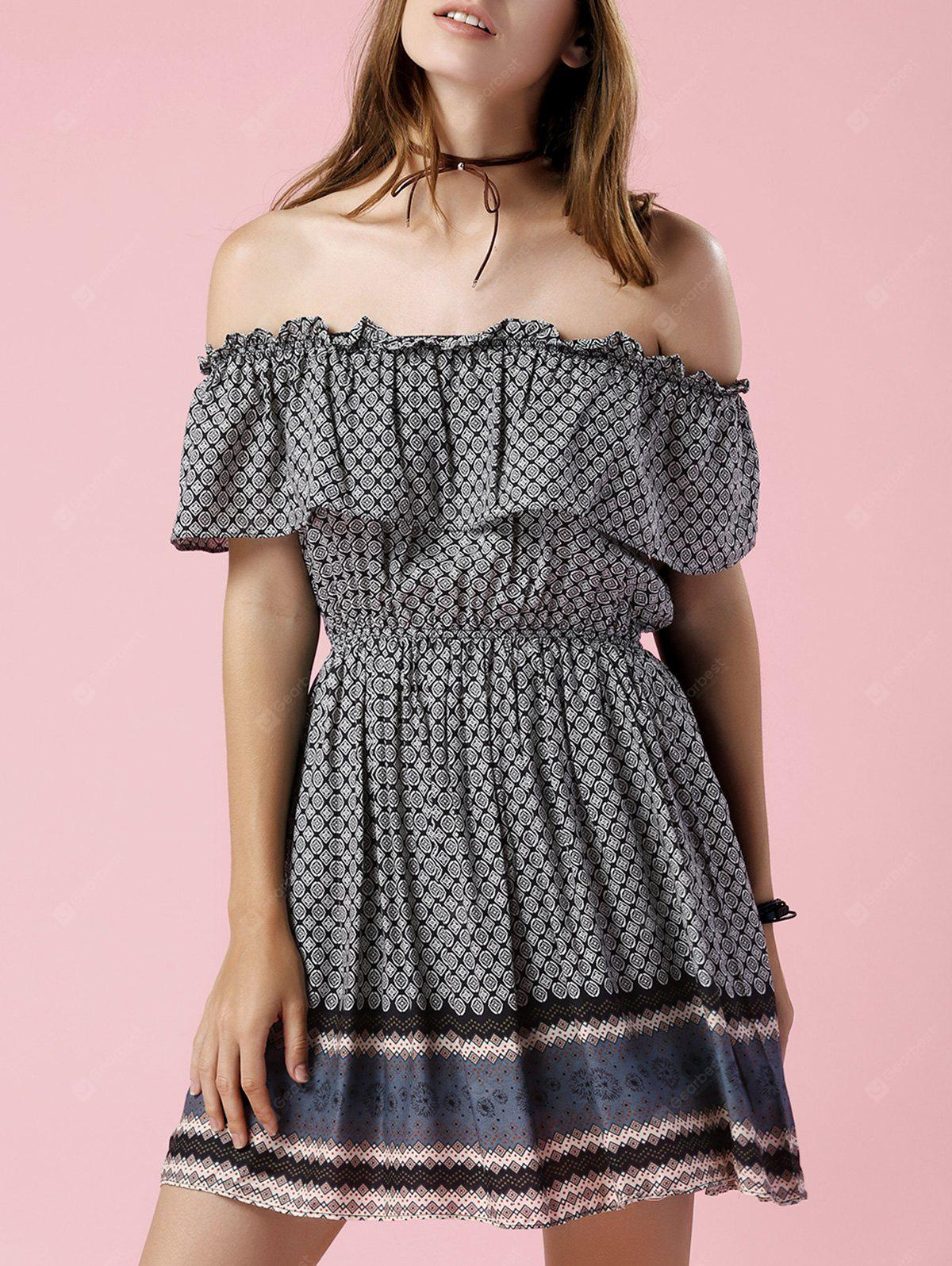Trendy Off The Shoulder Printed Waisted Mini Dress For Women