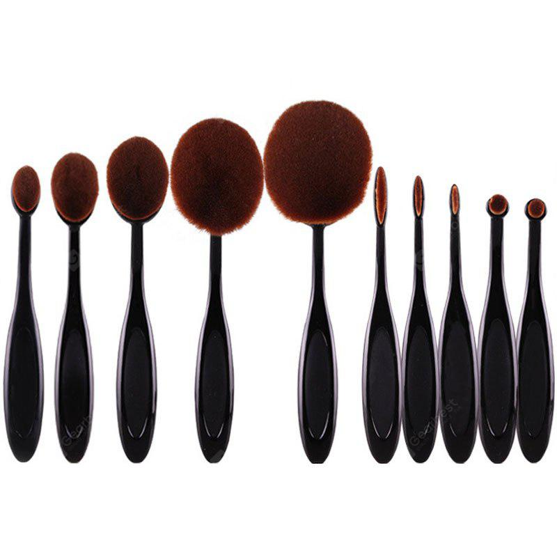 Stylish 10 Pcs Multifunction ToothBrush Shape Fiber Facial Eye Makeup Brushes Set