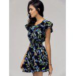cheap Stylish Scoop Neck Cap Sleeve Butterfly Print Dress For Women