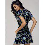 Stylish Scoop Neck Cap Sleeve Butterfly Print Dress For Women deal