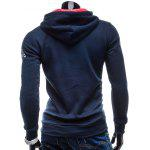 cheap Vogue Drawstring Hooded Letters Logo Print Front Pocket Hit Color Long Sleeves Men's Slimming Hoodie
