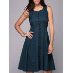 Button Up Flared Dress - GREEN