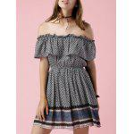 Trendy Off The Shoulder Printed Waisted Mini Dress For Women - BLACK GREY