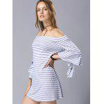 Buy Stylish 3/4 Sleeve Shoulder Fitting Striped Women's Dress M LIGHT BLUE