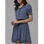 Print Front Button Frilled Dress - PURPLISH BLUE