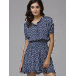 cheap Print Front Button Frilled Dress