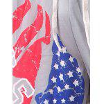 Beam Feet American Flag Statue of Liberty Letters Print Hit Color Lace-Up Men's Loose Fit Sweatpants - BLACK