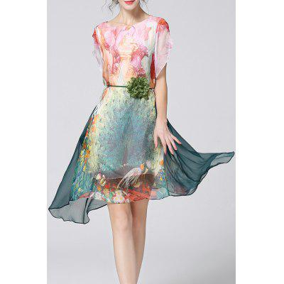 Petal Sleeve Asymmetrical Print Dress