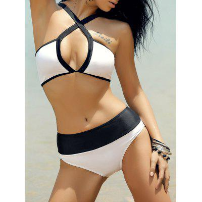 Women's Stylish Hollow Out Hit Color Bikini